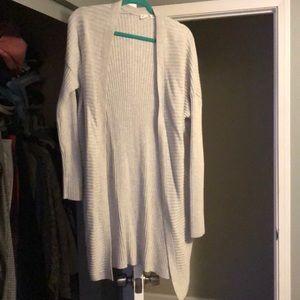 Grey textured long sweater